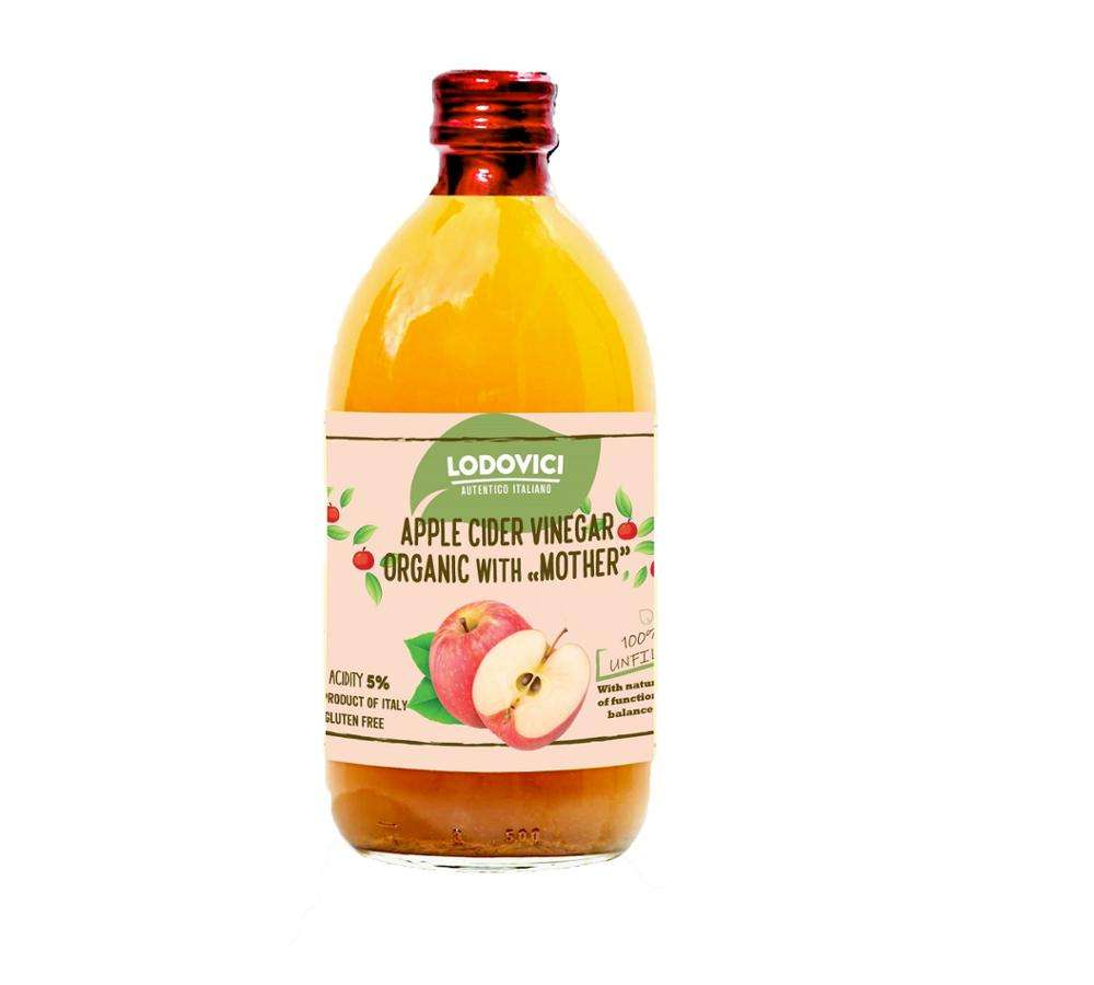 Italian Organic Apple Cider Vinegar - With Mother, Raw Unfiltered Made in Italy - Bottle Halal - BRC IFS Organic NOP