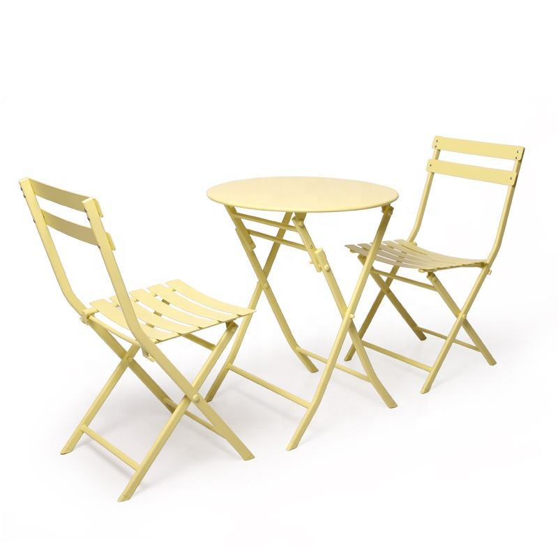 Foldable Round Outdoor Iron Table Set Bar Hotel Folding Metal Chair