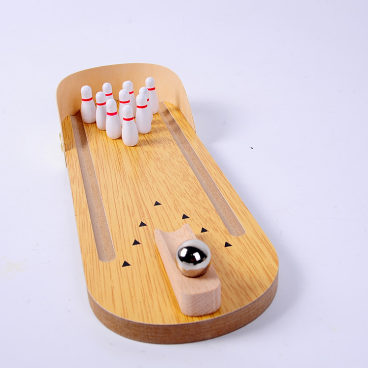 Hot selling wooden mini bowling set toy custom logo wholesale bowling ball toys for kids