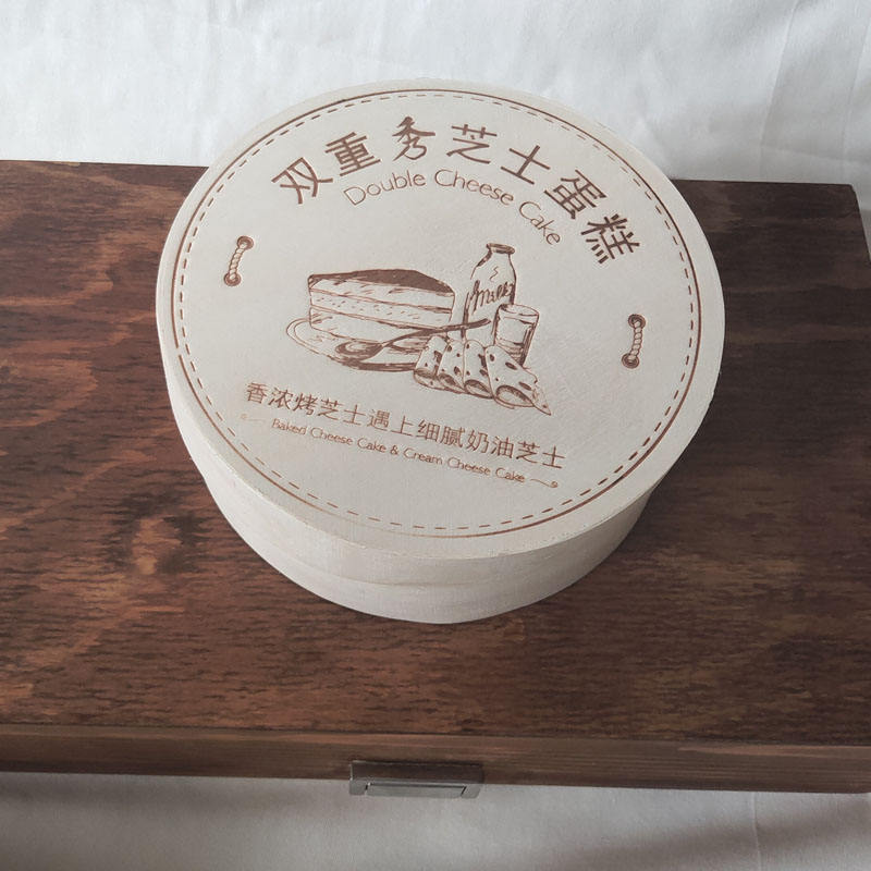 double baked cream cheese wooden poplar veneer cake packaging box