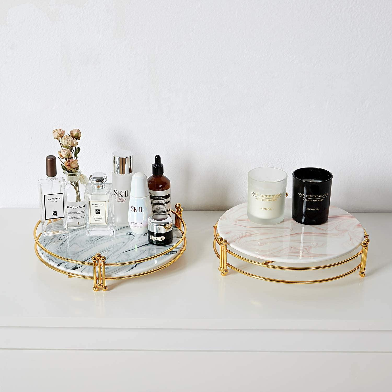Round white Marble Ceramic Decorative Tray with Handmade Gold Stand acrylic Perfume Tray for Dresser, Coffee Table, Ottoman
