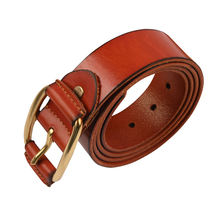 Fashion Full Grain Brown 37mm Wide Leather Mens Belt,Mens Leather Belt for Jeans with Copper Button