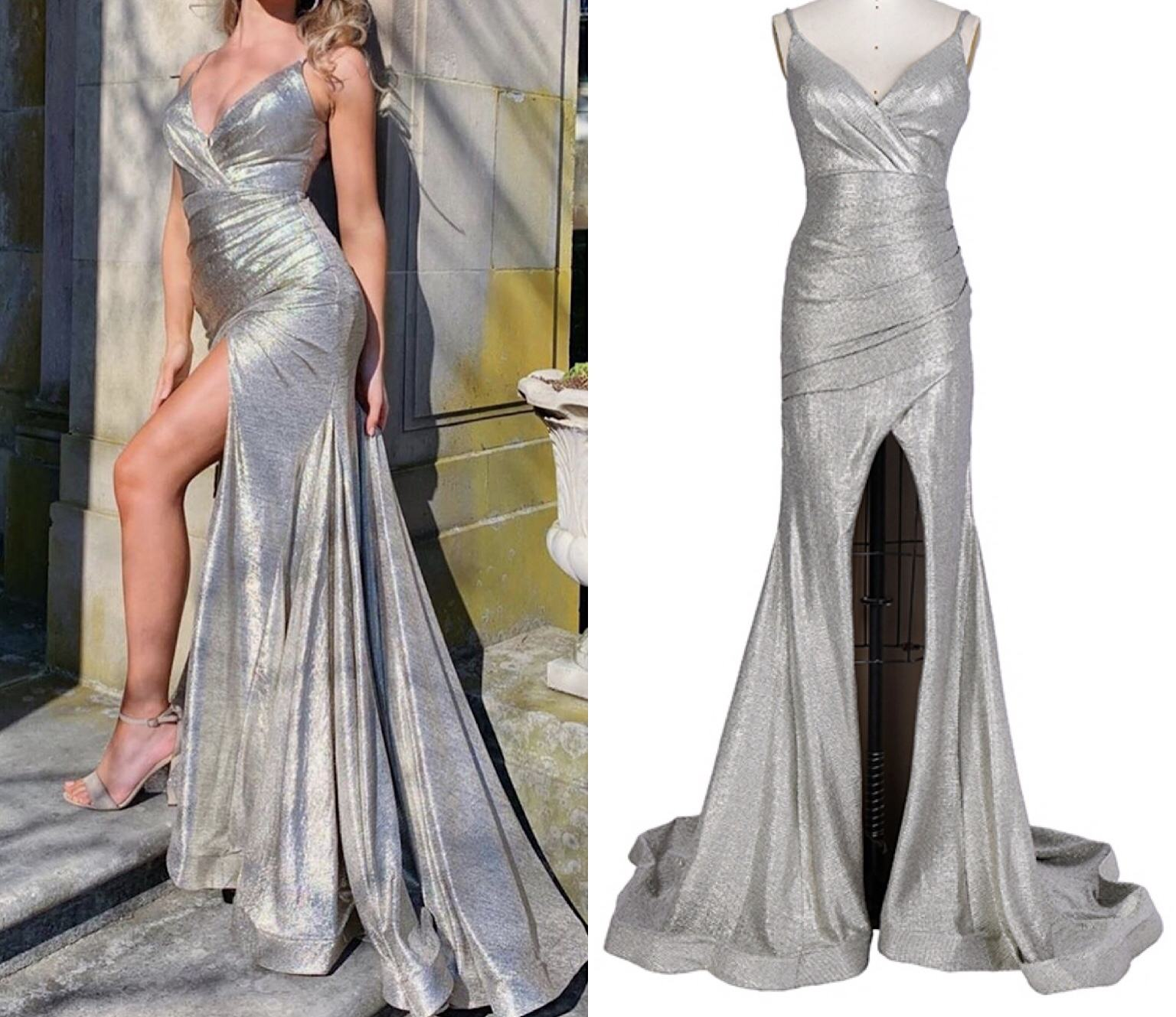 Charming design sweep train shiny ruched high split slim bodycon sexy silver party women evening dresses