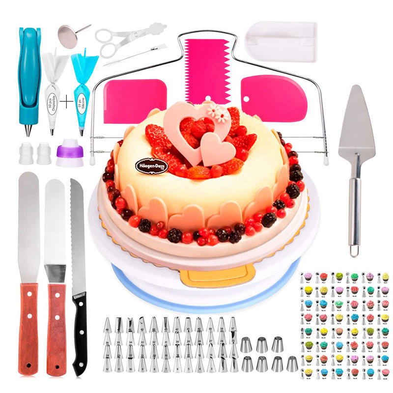124 Pieces Cake Turntable Set Decorating Nozzles DIY Pastry Icing Piping Nozzles with Storage Box