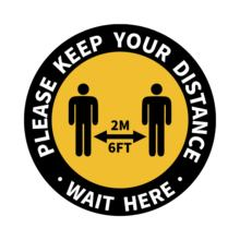 Please Keep 6 Feet Distance Floor Sticker 12 Inch Social Distancing Floor Sign with10 Pcs Per Pack