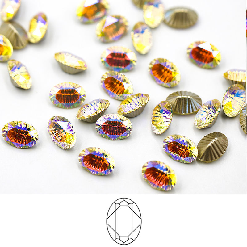Wholesale 40 Shape Crystal Strass AB Gems Sew on Clothing 10*14 Oval Point Back Glass Sewing Rhinestones for Women Dresses