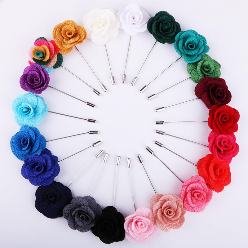 Promotional Flower Lapel Pins Mens Brooch Silk Flower Pin In Various Color