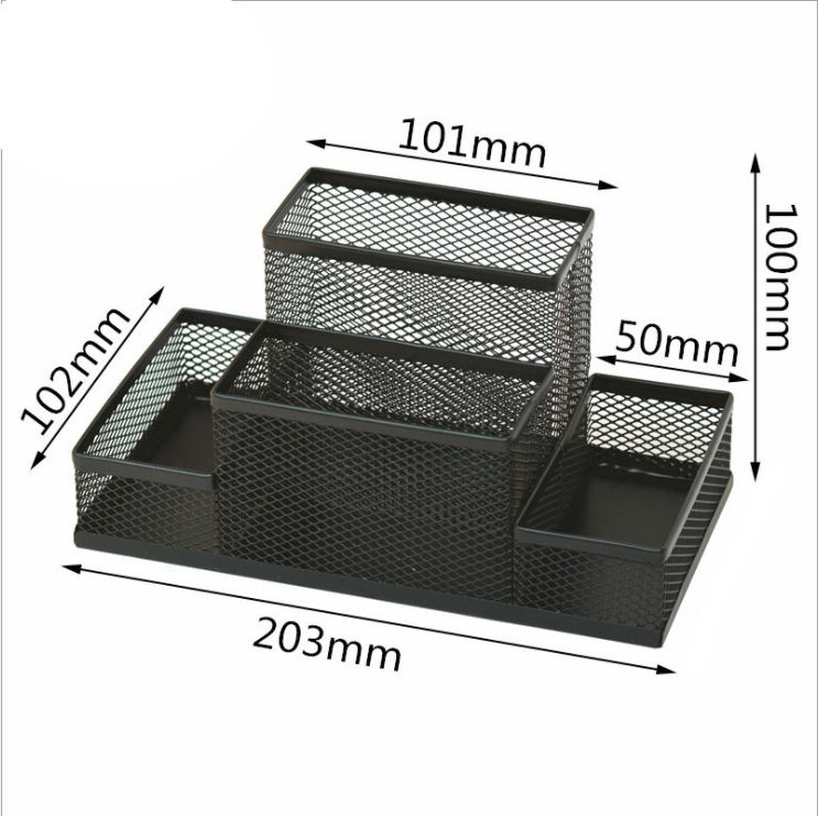 Wholesales Metal Mesh 4-Compartment Desk Organizer Office Supplies