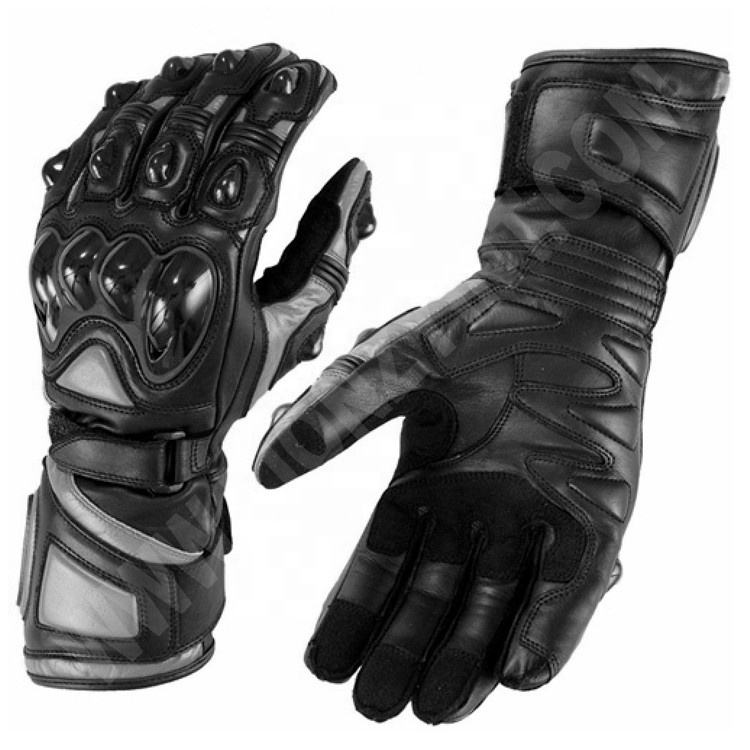Full Gauntlet OEM Grey/Black Wholesale Men's Motorcycle Waterproof Gloves with Protective Knuckles