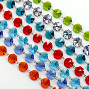 Wholesale Top quality colorful 14mm crystal octagon glass prism DIY loose chandelier beads