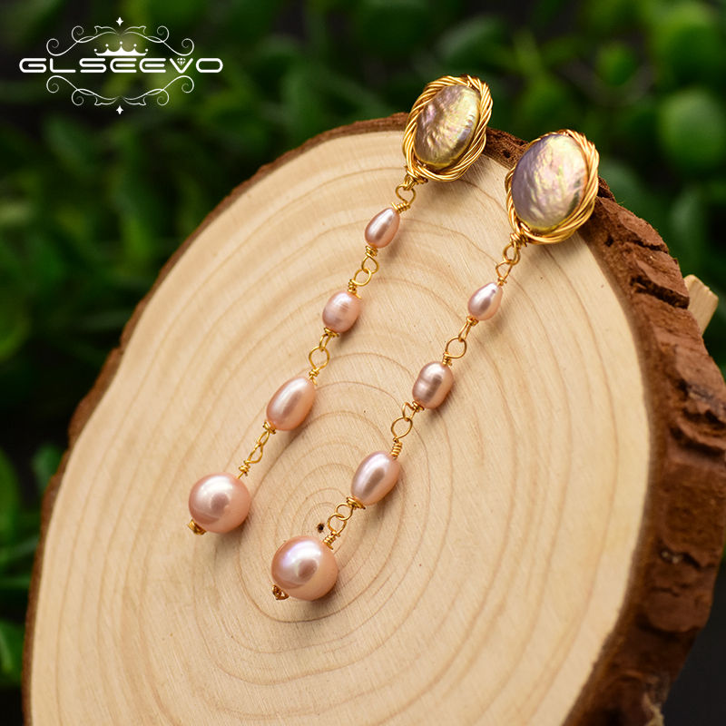 925 Sterling Silver Natural Fresh Water Baroque Pink Flat Pearl For Women Long Tassel Drop Earrings Fine Jewelry