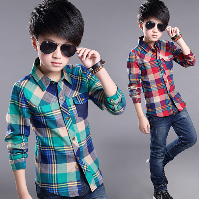 New fashion long sleeve children kids clothes plaid tops cotton boy shirt