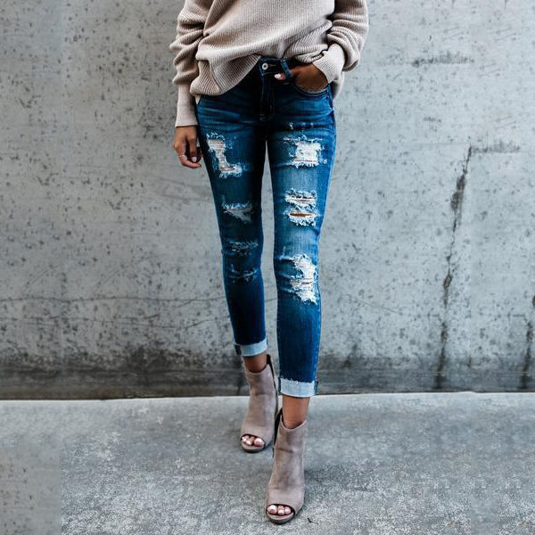 Blue Ripped Long Trousers Woman Jeans Wholesale spring new bamboo cotton hole silm fit women jeans Europe and America cuffed