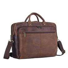 wholesale custom lgo business office bag crazy horse leather laptop bag for men