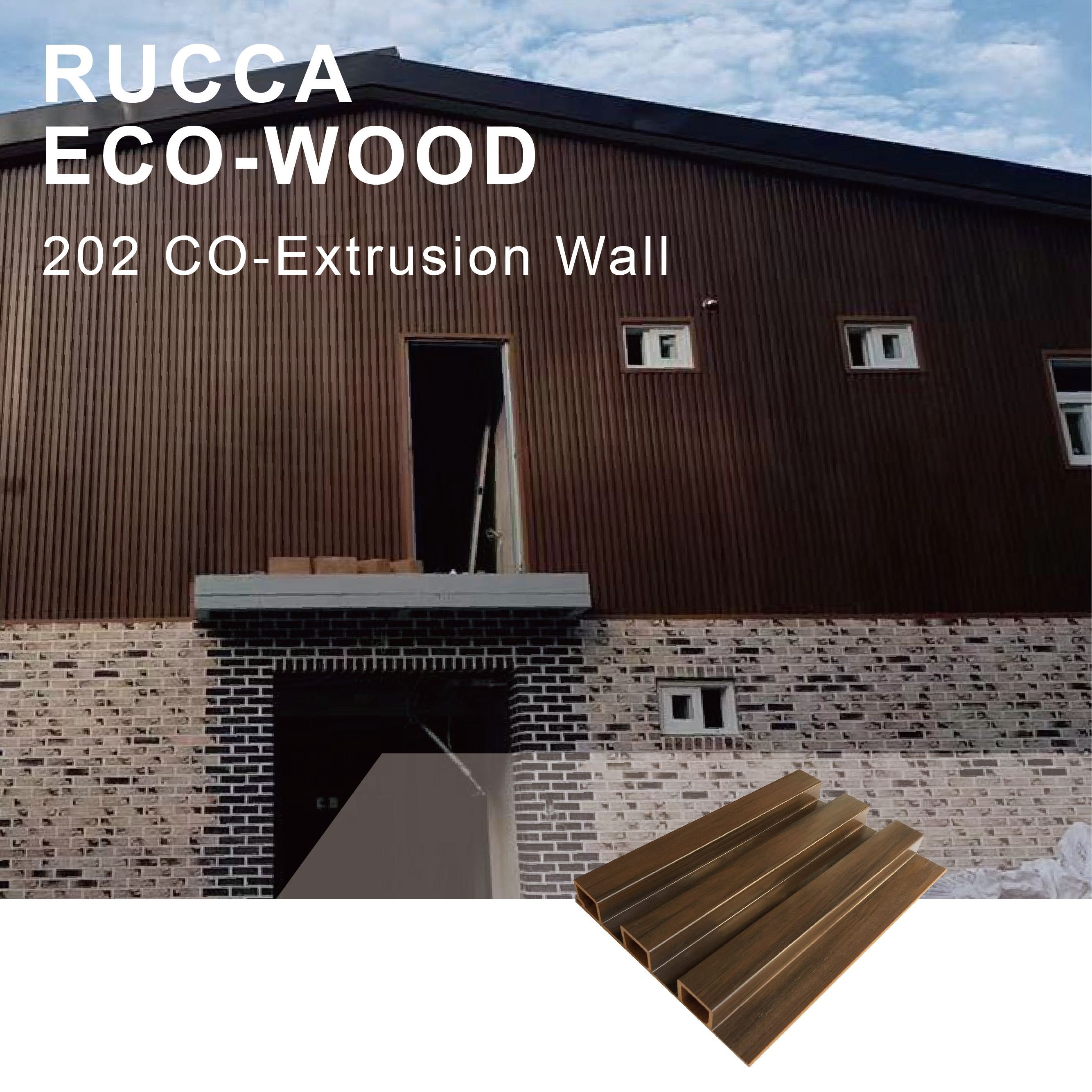 Rucca Eco Wood Exterior Luxury Decorative Wall Cladding Panel Prefabricated Homes Best Price from factory supplier