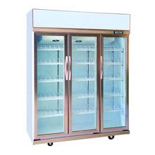 commercial three glass doors display chiller fridge transparent electric refrigerator supermarket 3 door fan cooling freezer