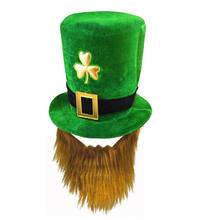 high quality Wholesale Green Irish Festival Promotional St. Patricks Day Hat St. Patricks Day Costumes Green Top Hat With Beard
