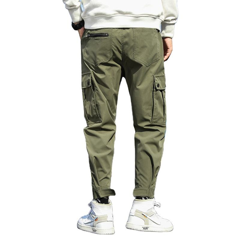 custom logo heat transfer new style men's cotton overalls trousers cargo pants 6 pocket big size harem men jogger hot sale