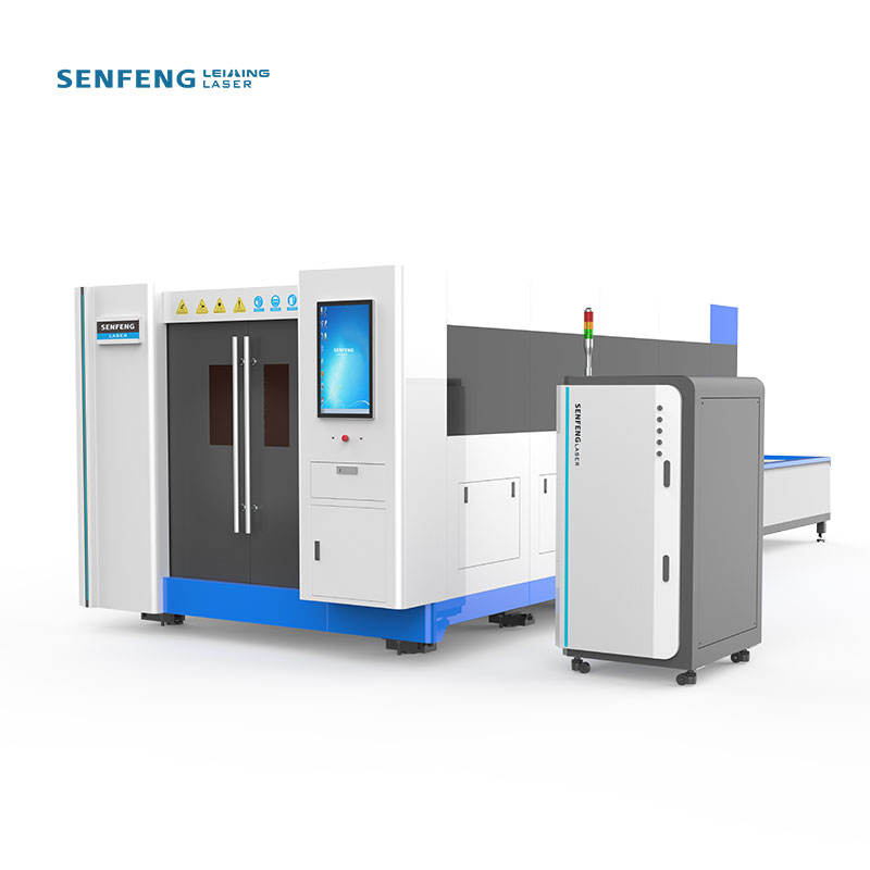 Laser Cut Machine Supplier SENFENG Full Cover Iron Steel Laser Cutting Machine Cnc Fiber 4000w/6000w With Exchange Table 3015