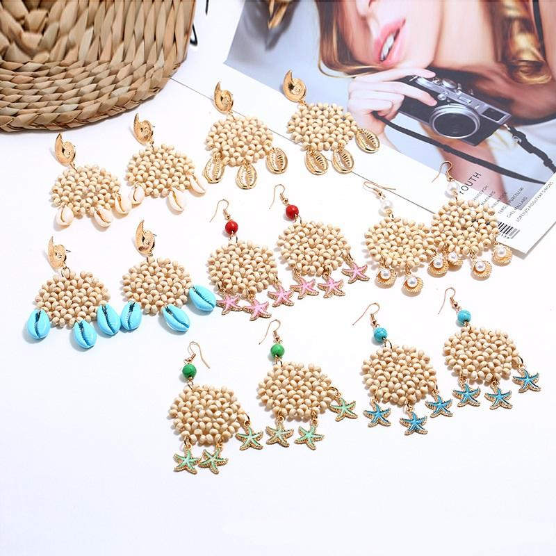 JUHU 2021 personality geometric round starfish drop earring sea shell Crystal beads Wooden beads earrings jewelry wholesale