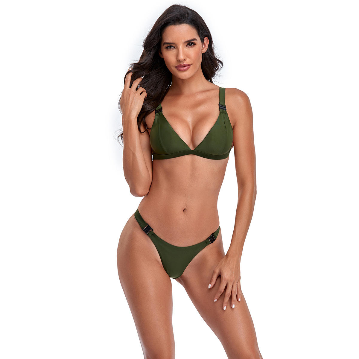 2021 European and American new arrival solid color split bikini sexy triangle ladies swimwear
