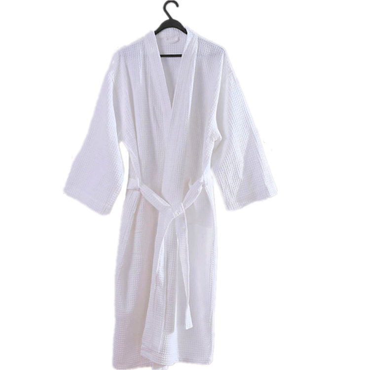 Wholesale brand Waffle pattern cotton fabric unisex hotel bathrobe