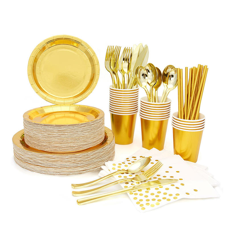Paper Plates Napkins Tea Cups 193PCS <span class=keywords><strong>24</strong></span> gäste Talking Cutlery Serving Set Tables Goldware Party Supplies