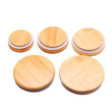 Eco-Friendly Bamboo Wooden Lid For Stacked Glass Storage Jar