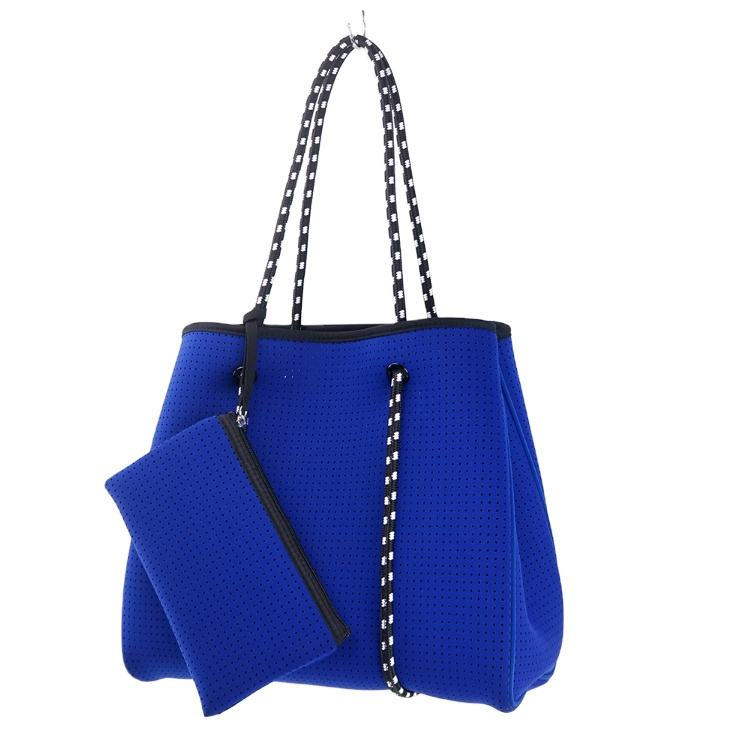 2020 Hot Selling 4mm reversible perforated neoprene handbags Custom Women Beach Bag