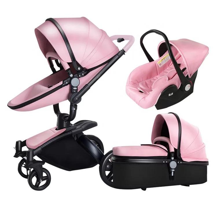 Baby Stroller 3 In 1 Luxury High Landscape Travel System Baby Pram 360 Rotation Pushchair with Bassinet and Car Seat