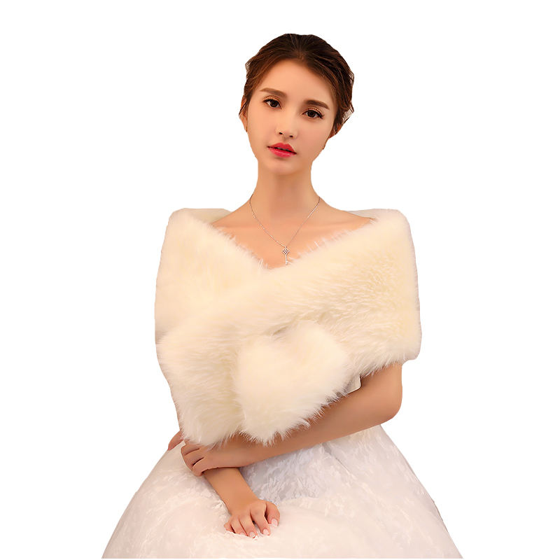 Wholesale Winter Hot Sale Wedding Accessories New Fluffy Champagne Scarf Shawl Bridal Cotton Wrap