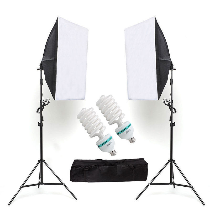 Softbox Lighting Kit 50 × 70センチメートルPhotography ContinuousライトボックスSoftbox With 2PCS 85W E27 Socket Lighting BulbsためPhoto Studio