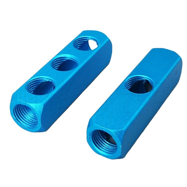 "2〜20 Holes 1/4 ""Female Thread Pneumatic Components Quick Coupling Base Air Exhaust MultiパイプGas Row Aluminum Strip Blue"