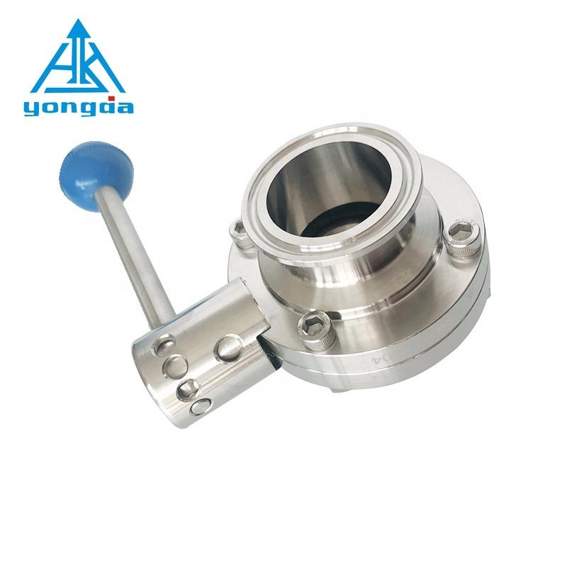 Yongda 316L 304 manual tri clamp butterfly valve,sanitary stainless steel butterfly valve price