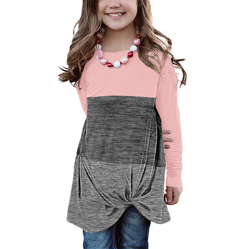 Wholeasle Twisted Knot Color Block Long Sleeve Top Little Girls Top