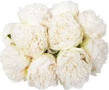 1 Bouquet 10Heads Artificial Peony Silk Flower Leaf Home Office Wedding Party Festival Bar Decor (White)