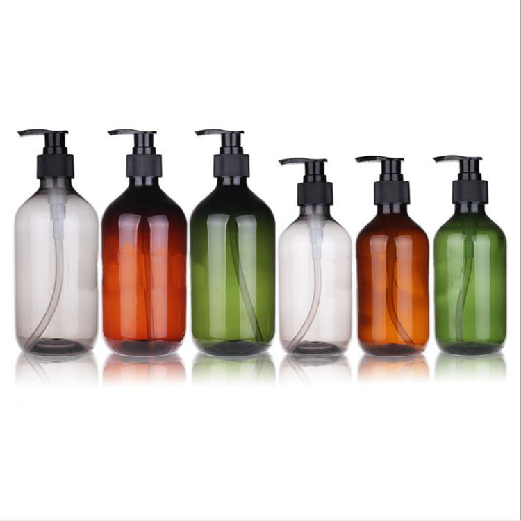 Empty 300ml 500ml Round PET Plastic Pump Press Bottle for Body Wash Lotion Shower Gel Shampoo Packaging