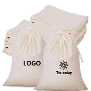Custom Logo Sublimation Print Organic Cotton Muslin Sachet Bags Double Shopping Pouch Canvas Drawstring Gift bag