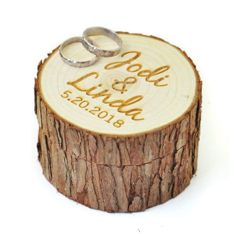 Hot sale custom personalized name date wedding bearer rustic ring box wood