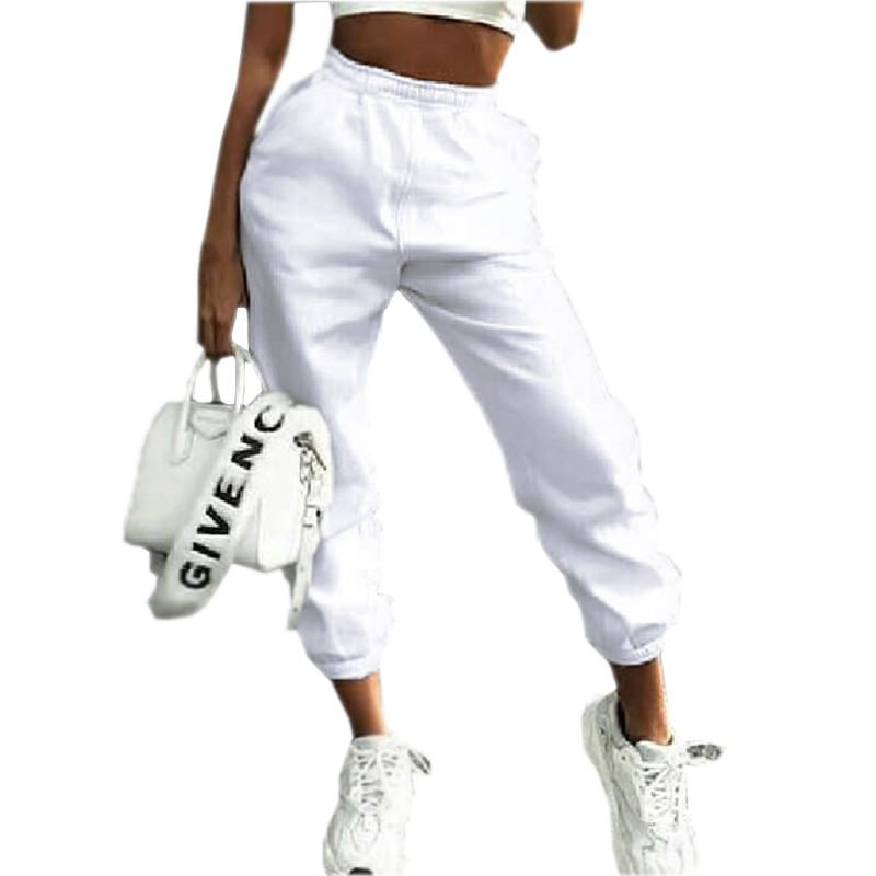 Trendy Activewear Plain Cotton Harem White Joggers Stacked Sweatpants Women