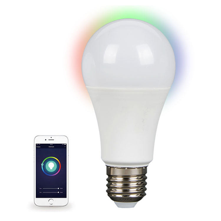 Stepless Dimmable Color Changing LED Light Bulb, Smart WIFI RGB 10W SMD LED Bulb A60