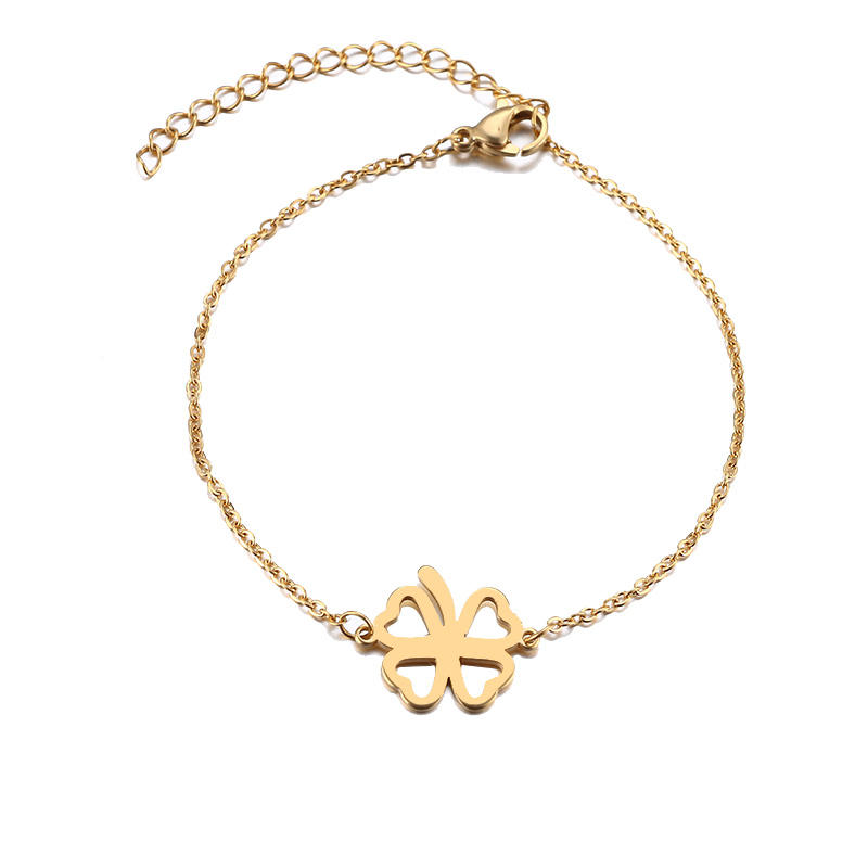 Top Selling Factory Wholesale Stainless Steel Jewelry Gift Hollow Four Leaf Clover Lucky Fortune Charm Women Gold Bracelets