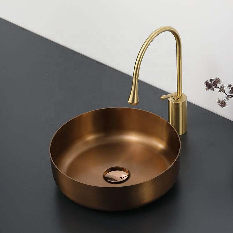 Sound proof gold finish round shape hand wash stainless steel sink for hotel