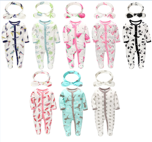 Wholesale 100% Cotton New Born Baby Rompers Bodysuit Sets with Headband Comfortable Baby Rompers