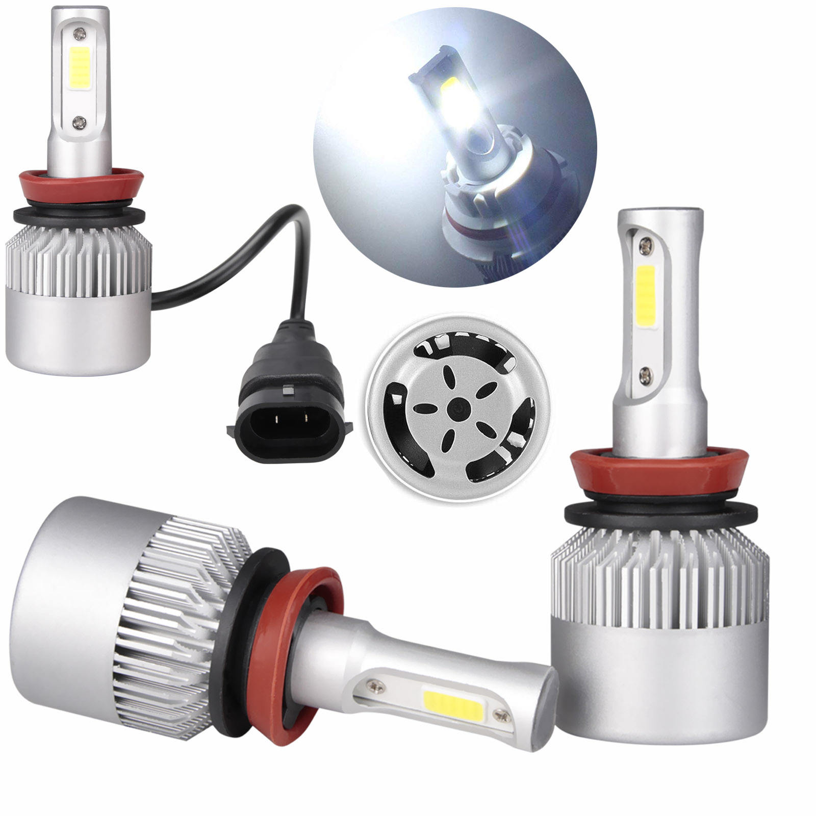 Waterproof LED Headlight Bulbs H8 H9 H1 Conversion Kit 6000K 36W COB High Power Lamp For Auto Lighting System