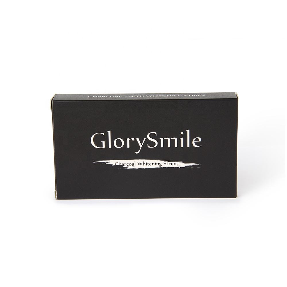 GlorySmile/Private Label/Custom Logo/OEM Teeth Whitening Strips High Quality Black Charcoal Teeth Whitening Strips