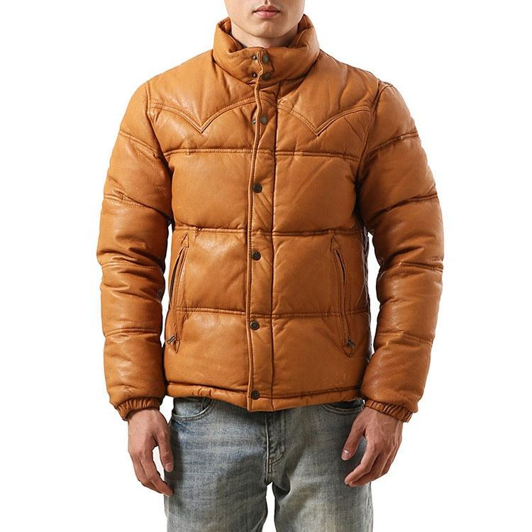 Factory Direct Sell Price Sheep Leather Goat Skin Duck Down Jacket for Men