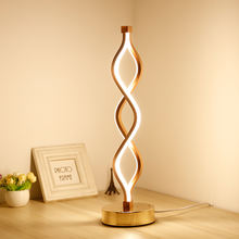 Fashion wave shape gold indoor room hotel bedroom bed side night table lamp