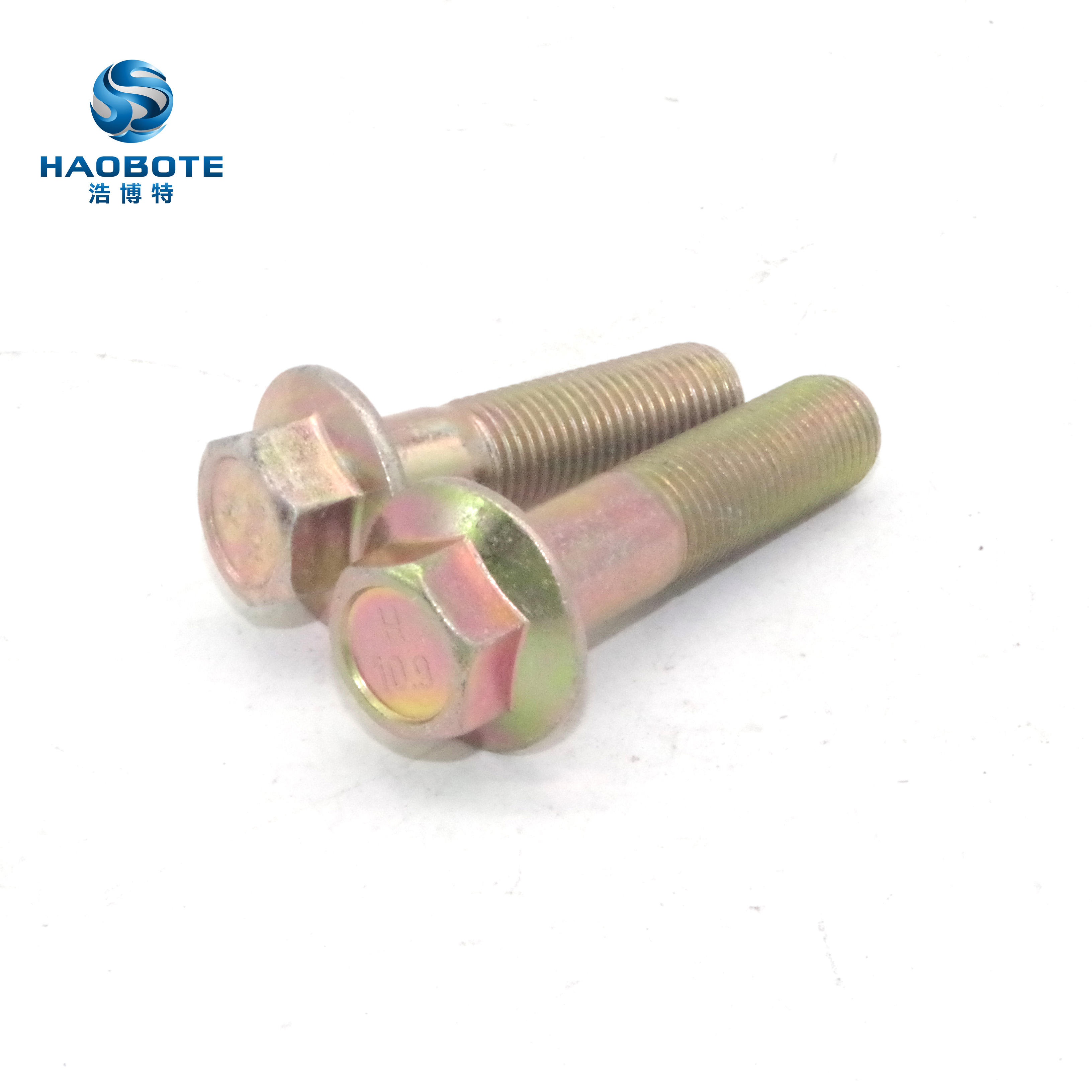 Class 10.9 Plated Yellow Zinc for Automobile BelMetric JIS Hex Head Flange Bolt 10mm Wrench Motorcycle and Mechanical Applications