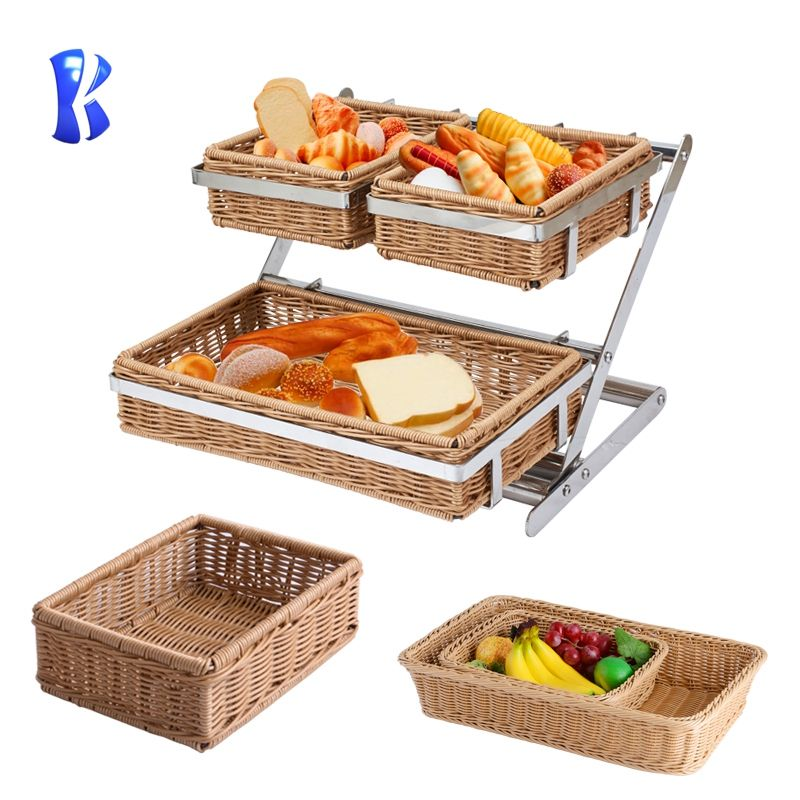buffet equipment Stainless Steel 2 layers Snack Stand and buffet food display stand with PE rattan